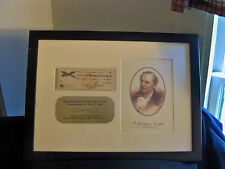 J. Fenimore Cooper Signed Check Framed and Matted W/Nice Plaque and Photo 1840