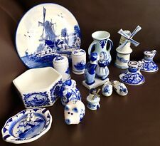 Collection of 15 Pieces of Vintage Delft Blue Dutch Pottery In Perfect Condition