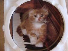"Kitten on the Keys Collector Plate #6376A Great Music Gift 7.75"" Across Nib"