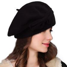 Black Womens Wool Bow Loretta Beret Nipple Beanie Basque French Artist  Cap A481