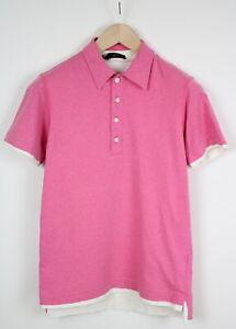 DSQUARED2 71 QA051 Men's MEDIUM Two Layer Pink Short Sleeve Polo T-Shirt 38209-G