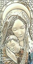 Virgin Mary & Infant Jesus Mother Child Silver Icon Plaque