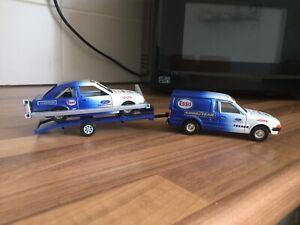 Unique Corgi 1/36 Diecast Esso Ford Escort Van, Trailer And Escort Stock Car