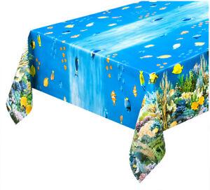 Tablecloth Cooking Stain Plasticized Modern Oilcloth Sea Fish Aquarium