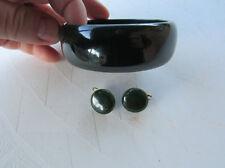 Dark Green Bakelite Bangle and Earrings Set