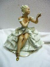 Vtg Wallendorf Porcelain Figurine Ballerina Sitting Mirror Powder Puff Germany