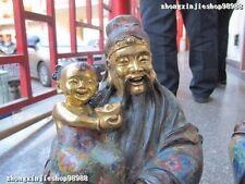 100% Bronze 24K Gold cloisonne Three Longevity God Fu Lu Shou Buddha Lucky Set