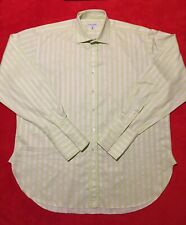 Alfred Dunhill Striped Long Sleeve French Cuff Men's Shirt 100% Cotton Sz 17L-43