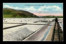 US LINEN POSTCARD GENERAL VIEW OF SALT BED IN GREAT SALT LAKE UTAH