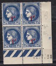 FRANCE COIN DATE BLOC DE 4 TIMBRE NEUF  N° 486  CERES VARIETE COURONNE EPI