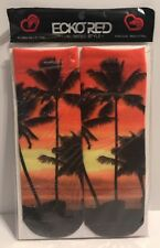 Ecko Red Palm Tree Sun Set Novelty Women Ankle Socks Shoe Size 5-9 Tropical New