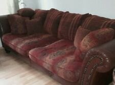 Sofa Kolonialstil - Big Sofa - rot-braun, 2-3 Sitzer, Kombi Stoff und Leder