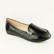 Womens Ladies Casual Comfy Slip on Flat Loafers Moccasins PUMPS Shoes Size 3-8 UK 4 Black