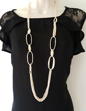 """Stunning 40"""" long ROSE GOLD tone layered - chunky link chain necklace"""