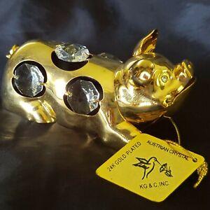 KG&C Inc Gold Plated Swarovski Crystal Laying Pig Figurine