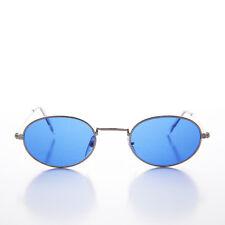 Blue Color Tinted Oval Lens 90s Vintage Sunglass Silver Frame - Sherbert