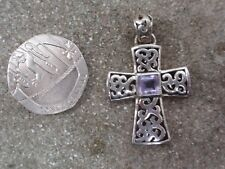 VINTAGE SOLID SILVER STERLING 925 FAUX AMETHYST CELTIC CROSS CRUSIFIX PENDANT
