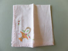 "Vintage Pink Linen Light Handkerchief 9.25"" x 9.25"" Embroidered Basket Accent"