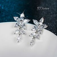 18K YELLOW WHITE ROSE GOLD 925 SILVER SIMULATED DIAMOND STUD EARRINGS