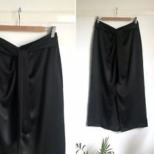 d62bbd8a4 Luxurious 100% Silk Black Draped Wrap Effect Midi Skirt With Front Slit  10-12