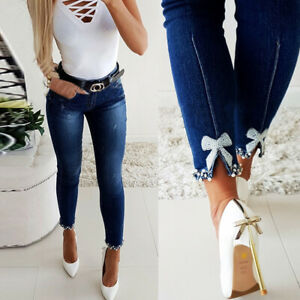 Womens Lace Bow knot Skinny Denim Jeans Stretch High Waist Pants Casual Trousers