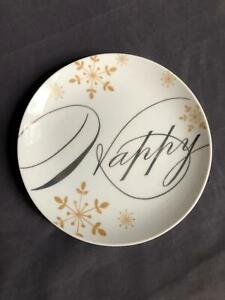 """Pier 1 Imports Holiday Wishes HAPPY Porcelain Trinket Dish 6"""" diameter rd"""