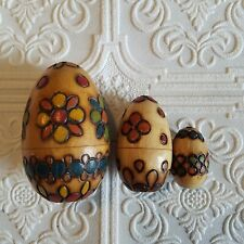 Polish Hand Painted Wood Nesting Eggs Nested Set of 3 Made in Poland