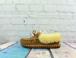 LL Bean Wicked Good Moccasins Slippers Shearling Lined Rustic Brown Women Size 6