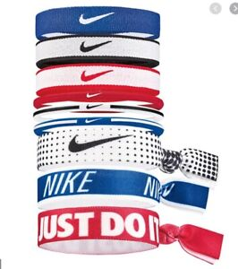 Nike Mixed Ponytail Holders 9 Pack Red/White/Black/Blue Unisex