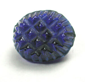 "Antique Cobalt Charmstring Glass Button with Waffle Mold Top 7/16""  1860"