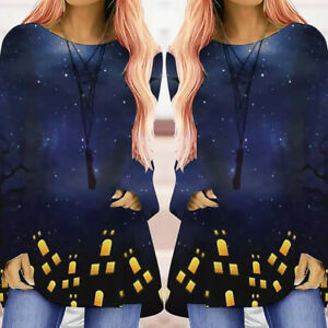 Womens Halloween Fancy Long Sleeve Loose T-Shirt Pullover Blouse Tee Tops Ladies