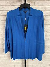 misook misses blazer jacket knit cardigan aqua blue stretch LARGE NEW $398 G117