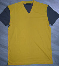 Authentic Mens Prada Yellow & Grey Two Tone Cotton Jersey V Neck T-Shirt Size M