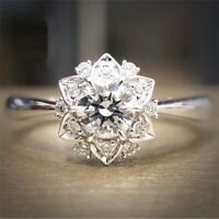 Gorgeous Round Cut White Topaz Flower Ring 925 Silver Engagement Wedding Jewelry