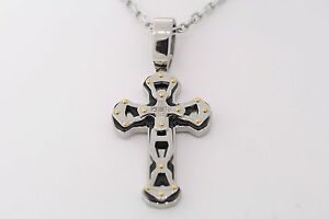 Black & Blue Stainless Steel .05ctw Natural Diamond Cross Pendant Necklace 30""
