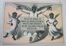 ANTIQUE MRS POTTS COLD HANDLE SAD IRON BLACK AMERICANA ADVERTISING TRADE CARD