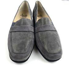 Amalfi by Rangoni Womens Gray Suede Wedge Shoes Subtle Metallic Italy 7.5 NEW