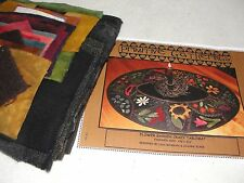 FLOWER GARDEN CRAZY TABLEMAT Wool Applique Penny Rug Quilt Primitive Gatherings
