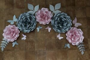 set of 5 Roses large Paper Flowers Backdrop, Birthday, Wall Decorations, Party,