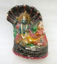 Vintage Old Hand Made Painted Terracotta Hindu God Vishnu Laxmi Figure Statue