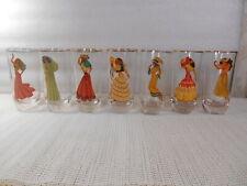 7 Vintage NUDIE PIN UP GIRLS Peek a Boo COCKTAIL TUMBLERS Bar Glasses Gold Rim
