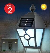 2Pc Dusk to Dawn Solar Lantern Light Porch Lamp Garage Door Driveway Waterproof