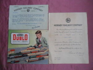 HORNBY DUBLO ELECTRIC TRAINS FOLD OUT CATALOGUE 1953/54 REVISED PLUS OTHER ITEMS