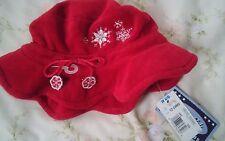 NWT Koala Kids Infant Girls 12-24M Red Velvet Winter Hat Embr Snowflakes NEW
