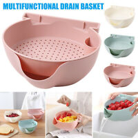 Drain Basket Plastic Double Layer Vegetable Washing Kitchen Storage Holder