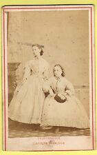 CDV - Sisters wearing Crinoline Dress - M. Vaissier & Co. - Hyde Park, London