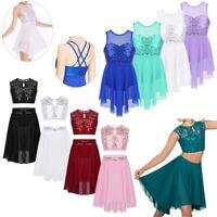 Girls Lyrical Ballet Dance Dress Contemporary Costume Ballroom Skating Dancewear