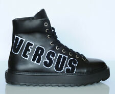 Versace VERSUS Black High Top Leather Sneakers Sz 8.5
