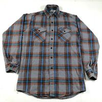 Vintage The Alaskan Flannel Button Down Shirt Mens M Tall MT Gray Blue Red Plaid