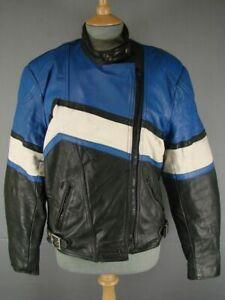 VINTAGE 1980's SPORTEX BLACK, BLUE AND WHITE COMBI LEATHER BIKER JACKET: SIZE 18